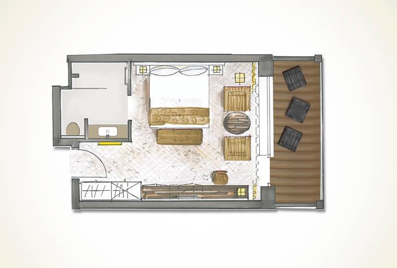 Grundriss Grand De Luxe Hotelzimmer